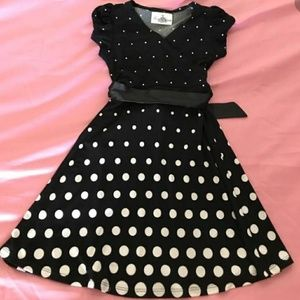 Rare Editions Dresses - Black and Gold polka dot childs dress
